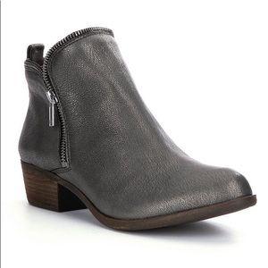 Lucky Brand Side Zip Metallic Leather Booties